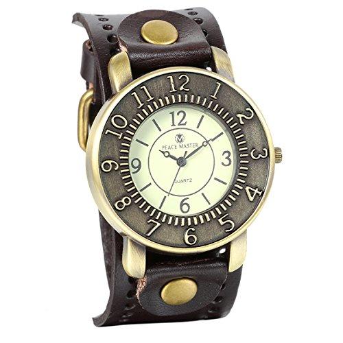 JewelryWe Vintage Bronze Round Case Dial Leather Wide Belt Wristband Cuff Quartz Analog Wrist Watch (Brown)