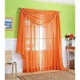 3 Piece Orange Sheer Voile Curtain Panel Set: 2 Orange Panels And 1 Scarf