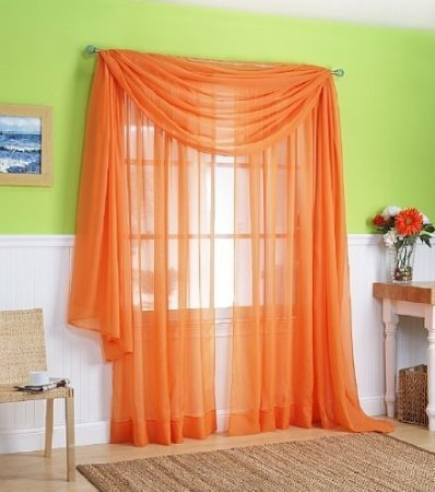 3 Piece Orange Sheer Voile Curtain Panel Set: 2 Orange Panels and 1 Scarf
