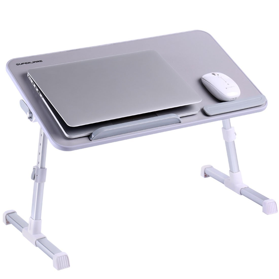 Portable Laptop Table by Superjare | Foldable & Durable Design Stand Desk | Adjustable Angle & Height for Bed Couch Floor | Notebook Holder | Breakfast Tray - Gray