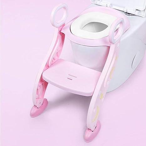 Reductor WC niños Aseo Asiento con Escalera, Escalera wc, 2 Escalones y Agarraderas Grandes, Asiento de Entrenamiento de Inodoro Ajustable y Plegable, Rosa: Amazon.es: Bebé