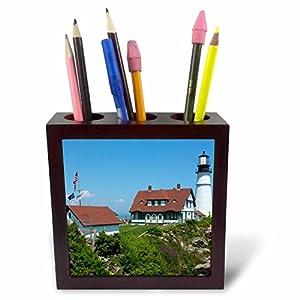 3dRose Danita Delimont   Maine   Portland, Maine, Portland Head Light,  Lighthouse On Cliff.   5 Inch Tile Pen Holder (ph_251070_1)