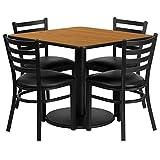 Dyersburg 5pcs Table Set Square 36'' Natural Laminate, Black Vinyl Chair