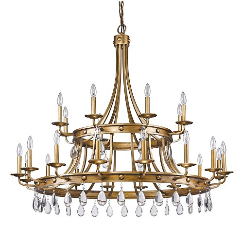Twenty Four Light Chandelier - Acclaim Lighting IN11028AG Krista Indoor 24-Light Chandelier with Crystal Pendants, Antique Gold