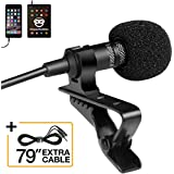 Professional Grade Lavalier Lapel Microphone  Omnidirectional Mic with Easy Clip On System  Perfect for Recording Youtube / Interview / Video Conference / Podcast / Voice Dictation / iPhone/ASMR
