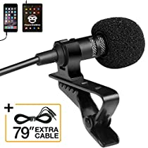 Professional Grade Lavalier Lapel Microphone  Omnidirectional Mic with Easy Clip On System  Perfect for Recording Youtube/Interview/VideoConference/Podcast/Voice Dictation/iPhone/ASMR