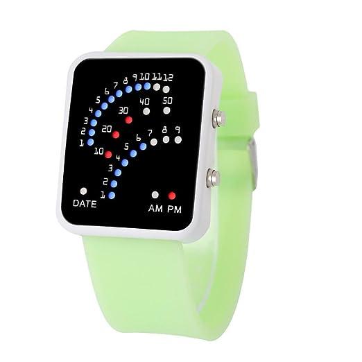 reloj LED deportivo silicona para hombre y mujer, QinMM pulsera con LED digital (Verde