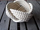 Decorative Knotted Cotton Rope Bowl 7″ x 5″ Off White Nautical Decor Knot For Sale