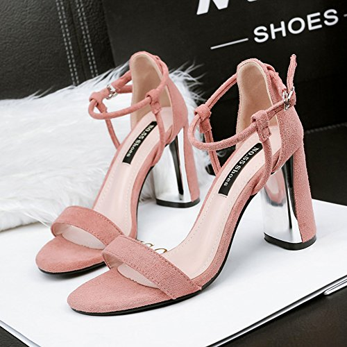 Heel Open Strap Buckled High Toe Faux Women's Block Aisun Pink Sandals Stylish Suede BUqvW1I