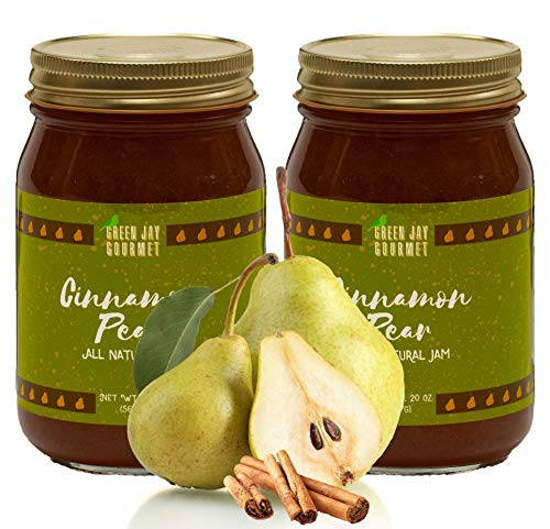 Cinnamon Pears - Green Jay Gourmet Cinnamon Pear Jam - All-Natural Fruit Jam with Pears & Cinnamon - Vegan, Gluten-free Jam - Contains No Preservatives or Corn Syrup - Made in USA - 40 Ounces