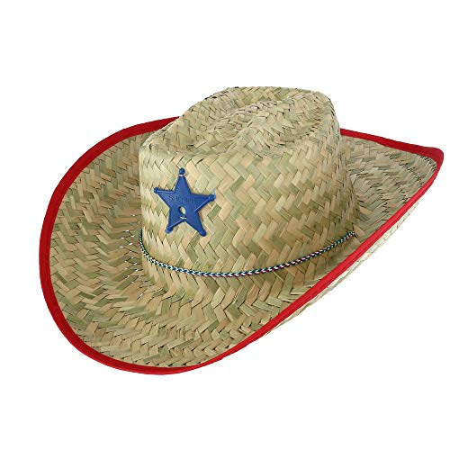 Cowgirl Hat With Star Badge - Broner Kids' Straw Western Hat with