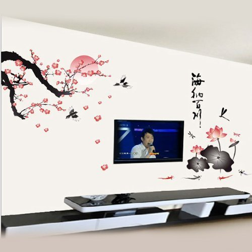 1pcs adesivi murali fiori fioriture loto parete plum caratteri ...