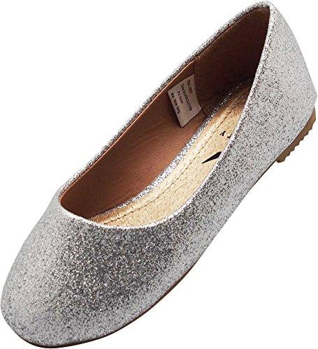 NORTY Little Girls Glitter Ballet Flat, Silver (Silver Glitter Ballet Flats)