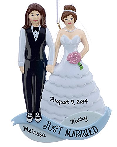 Same Sex Marriage Women Tuxedo Wedding Gown Personalized Christmas Tree Ornament by Rudolph and Me