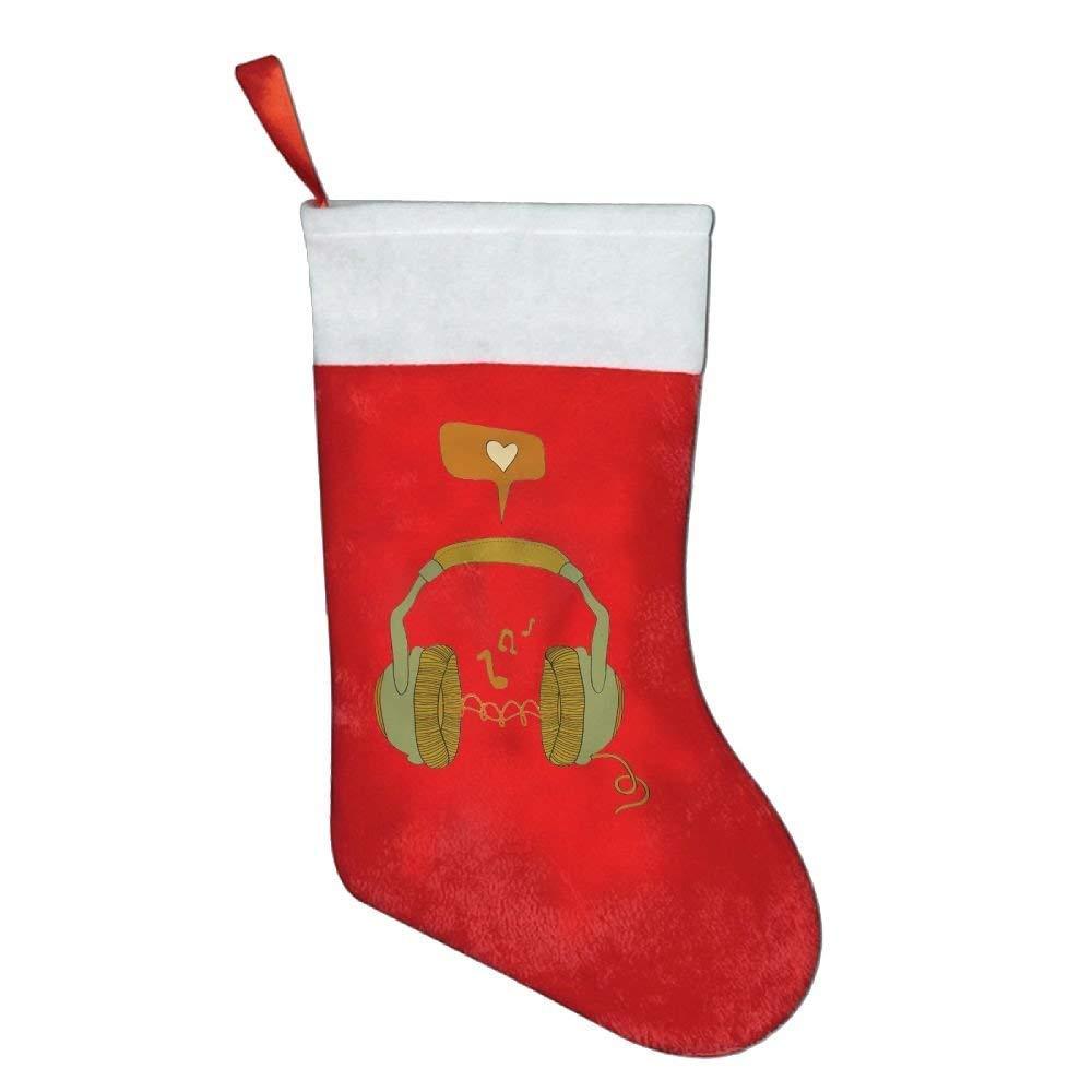 KMAND Christmas Stockings Love Music Headphone Christmas Holiday Stockings