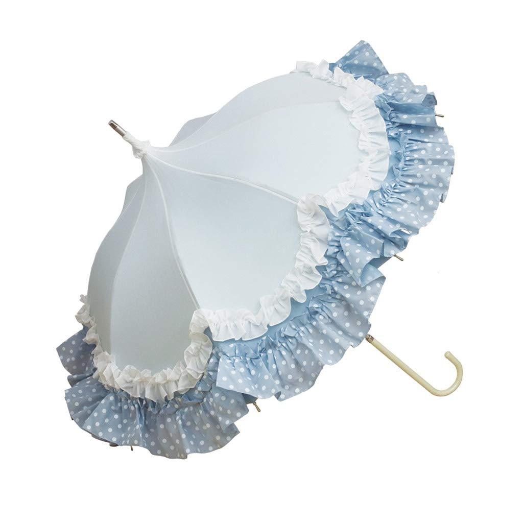 MSF Umbrella Long Handle Aluminum Sunscreen Rain Umbrella with Frill, Pagoda Umbrella for Ladies (Color : Light Blue)