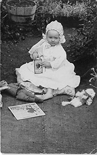 People and Children Photographed on Postcard, Old Vintage Antique Post Card Advertising Cadburys Cocoa Essence Unused