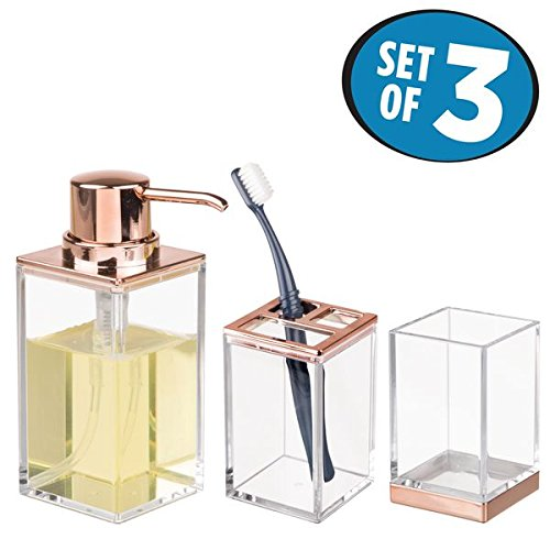 mDesign Bathroom Accessory Set, Soap Dispenser Pump, Toothbrush Holder Stand, Tumbler Cup - Set of 3, Clear/Rose Gold