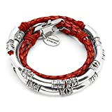 Lizzy James Mini Maxi Silver Plated Braided Leather Wrap Bracelet in Gloss Red Leather (SMALL)