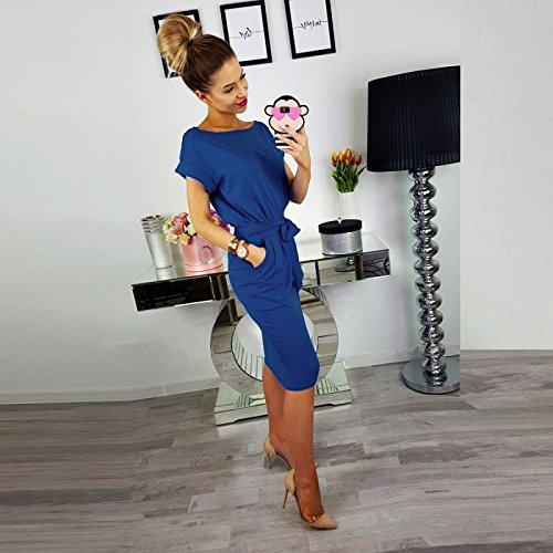 Shirt Color Casual T Belt O Sleeve ASSKDAN Neck Short Dress Solid Royal Long Women Blue with qTtnxSwz