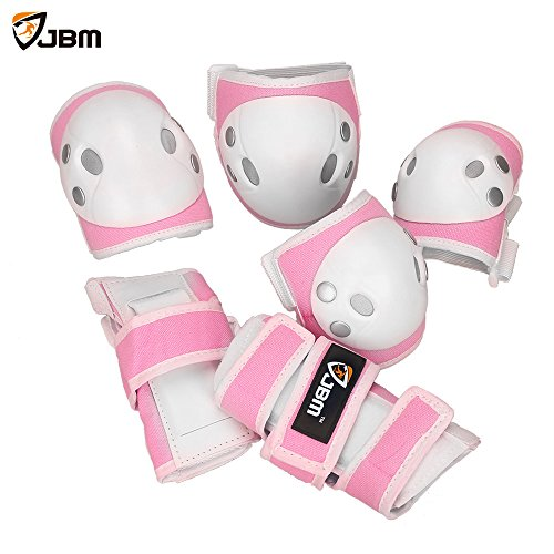 JBM Child Kids Bike Cycling Bicycle Riding Protective Gear Set, Knee and Elbow Pads with Wrist Guards Multi-sports: Rollerblading, Skating, Volleyball, Basketball, BMX (Denim Pink, Child/kids)