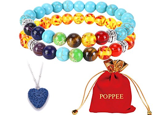 (poppee The Chakras Bangle Natural Stone Budhi Seed Mala Handmade Tibetan Buddhist Prayer Beads Bracelet Bangle for Yoga Men and Women with Gift Box (Set of 2 7 Chakra (5) Amber and Blue Turquoise))
