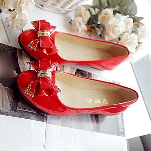 Transer® Damen Mokassins Bürodame Niedrige Ferse Kunstleder+Kunststoff Rot Rosa Schwarz Weiß Einzelschuhe (Bitte achten Sie auf die Größentabelle. Bitte eine Nummer größer bestellen) Rot
