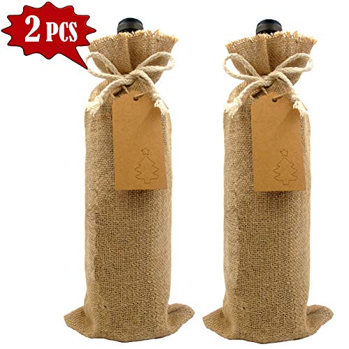 ge Wedding Gift Wine Bottle Cover, Burlap Wine Bags, Engagement Party Linen Burlap Wine Gift Bags, Red wine Bottle Bags, Champagne bags, Christmas tree tag (blank 2 pack) ()