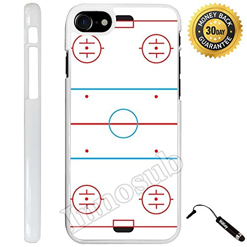 Custom iPhone 8 Case (Ice Hockey Rink) Edge-to-Edge Plastic White Cover with Shock and Scratch Protection | Lightweight, Ultra-Slim | Includes Stylus Pen by INNOSUB