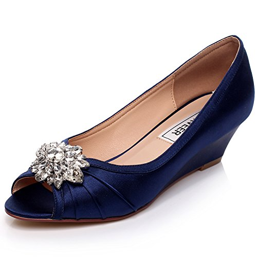 Bridal Shoes Usa: LUXVEER Blue Bridal Shoes,Low Heel Wedges 2inch-EU41