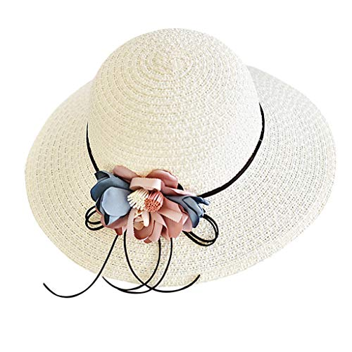 Aleola Girls Summer Straw Hat Floppy Foldable Beach Sun Protection Hat with Wide Brim (White) ()