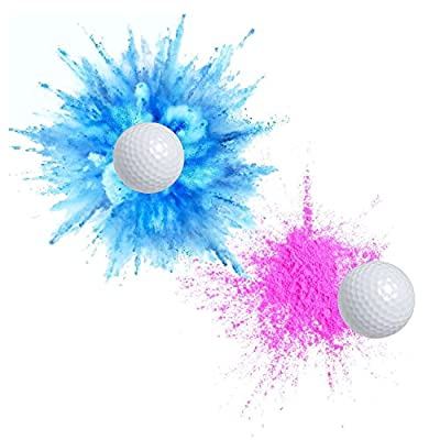Exploding Trick Golf Balls + Gender Reveal Party Gag Gift for Golfers, Blue & Pink Exploding Golf Balls