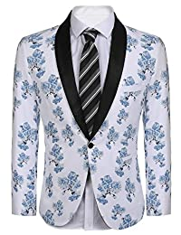 COOFANDY Men's Slim Fit One Button Suit Jacket Notched Lapel Blazer Jackets