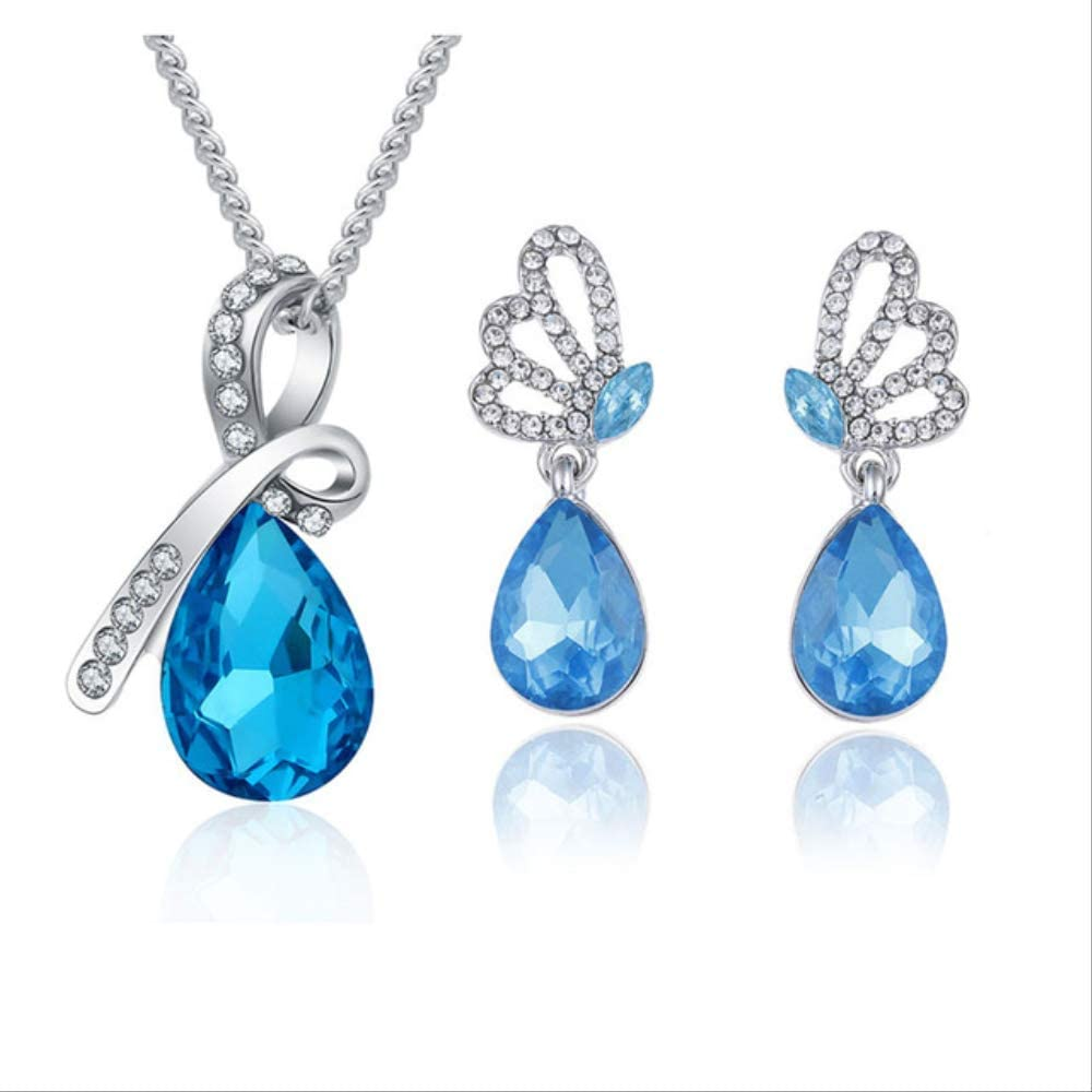 YMKMM Conjunto De Joyas De Cristal Colgante De Gota De Agua Collar Pendiente DeBotónPulsera Plateada Joyas Mujer043415 Azul Marino