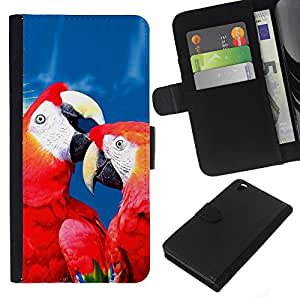 EJOY---La carpeta del tirón la caja de cuero de alta calidad de la PU Caso protector / HTC DESIRE 816 / --Amor del loro Rojo Azul Hermosa naturaleza del pájaro