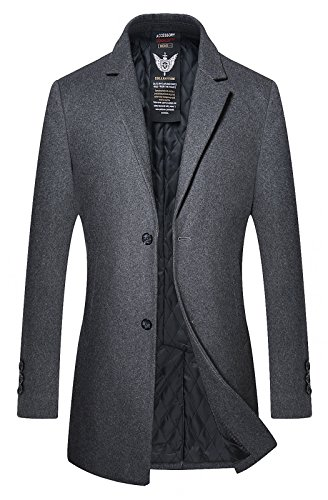 Button Cuff Wool Coat (HOP FASHION Mens High-grade Long Wool Overcoat Winter Thicken Notch Lapel Two Button Slim Fit Pea Coat Outwear Jacket With Pockets HOPM051-Grey-XL)