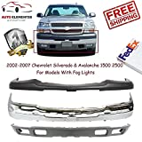 Front Bumper Kit for 2002-2007 Silverado & Avalanche 1500 2500 Front Bumper Face Bar Chrome Front Bumper Cover W/o Bracket W/License Plate Hole Upper Textured Front Lower Valance