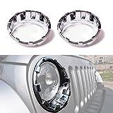 Automotive : ICARS Triple Chrome Silver Front Headlight Trim Cover Bezels Pair Jeep Wrangler Rubicon Sahara Sport JK Unlimited Accessories 2 door 4 door 2007-2017