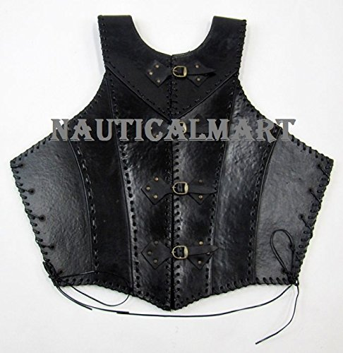 Nauticalmart Black Faux Leather Armor Jacket Vest by NAUTICALMART