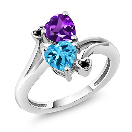 1.63 Ct Heart Shape Purple Amethyst Swiss Blue Topaz 925 Sterling Silver Ring (Available in size 5, 6, 7, 8, 9) -