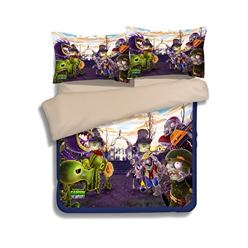 Plants VS. Zombies Bedding Sets - MeMoreCool 100% Polyester Home Textiles US Standard Sizes Best Gift for Game Fans Full 3 Pieces by bigxxx