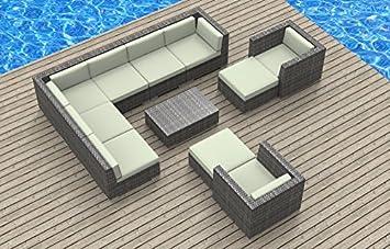 UrbanFurnishing.net 11b-aruba3-biege 11 Piece Modern Patio Furniture Sofa Sectional Couch Set