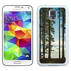 NEW Unique Custom Designed Samsung Galaxy S5 I9600 G900a G900v G900p G900t G900w Phone Case With Tall Trees Lake_White Phone Case