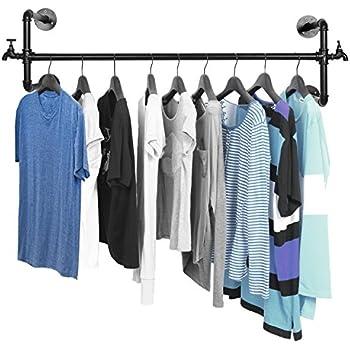 Merveilleux MyGift Black Metal Wall Mounted Faucet Design Closet Rod Garment Rack/Hanging  Clothes Bar Display