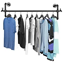 Black Metal Wall Mounted Faucet Design Closet Rod Garment Rack / Hanging Clothes Bar Display - MyGift