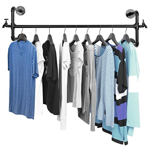 Clothes Rod Hanging (MyGift Black Metal Wall Mounted Faucet Design Closet Rod Garment Rack/Hanging Clothes Bar Display)