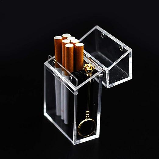 bulrusely Caja De Cigarrillo Transparente, Caja De Almacenamiento De Caja De Cigarrillo Portátil Más Ligera De Engrosamiento INS Wind Acrylic Cigarette Case Packaging: Amazon.es: Hogar