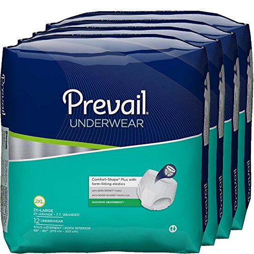 Prevail Maximum Absorbency Incontinence Underwear, 2X-Large, 12-Count (Pack of 4)