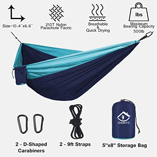 oaskys Camping Hammock Double with 2 Tree Straps Made of Portable Lightweight Nylon Parachute for Backpacking,Travel,Beach,Yard and Outdoor Survival (NavyBlue-Blue)