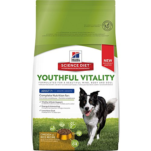 Hill's Science Diet Adult 7+ Youthful Vitality Chicken Recipe Dry Dog Food, 12.5 lb bag